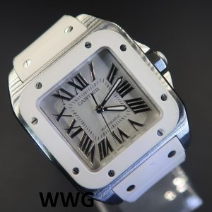 Cartier Ladies Santos 100 Mid Size White Dial (Pre Owned Watch)CAR-024