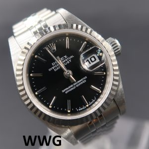 Rolex Ladies Datejust 69174 Black Dial (Pre Owned Rolex Watch)RL-633